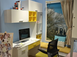 书桌+书柜+飘窗柜